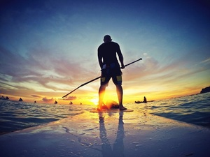 What is SUP - man on stand up paddle board